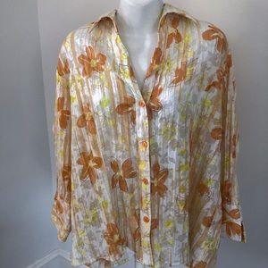 Apparenza 3/4 Sleeve Floral Buttondown Blouse